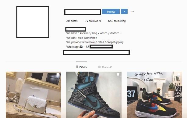 ranking de marcas más mencionadas por falsificadores en Instagram