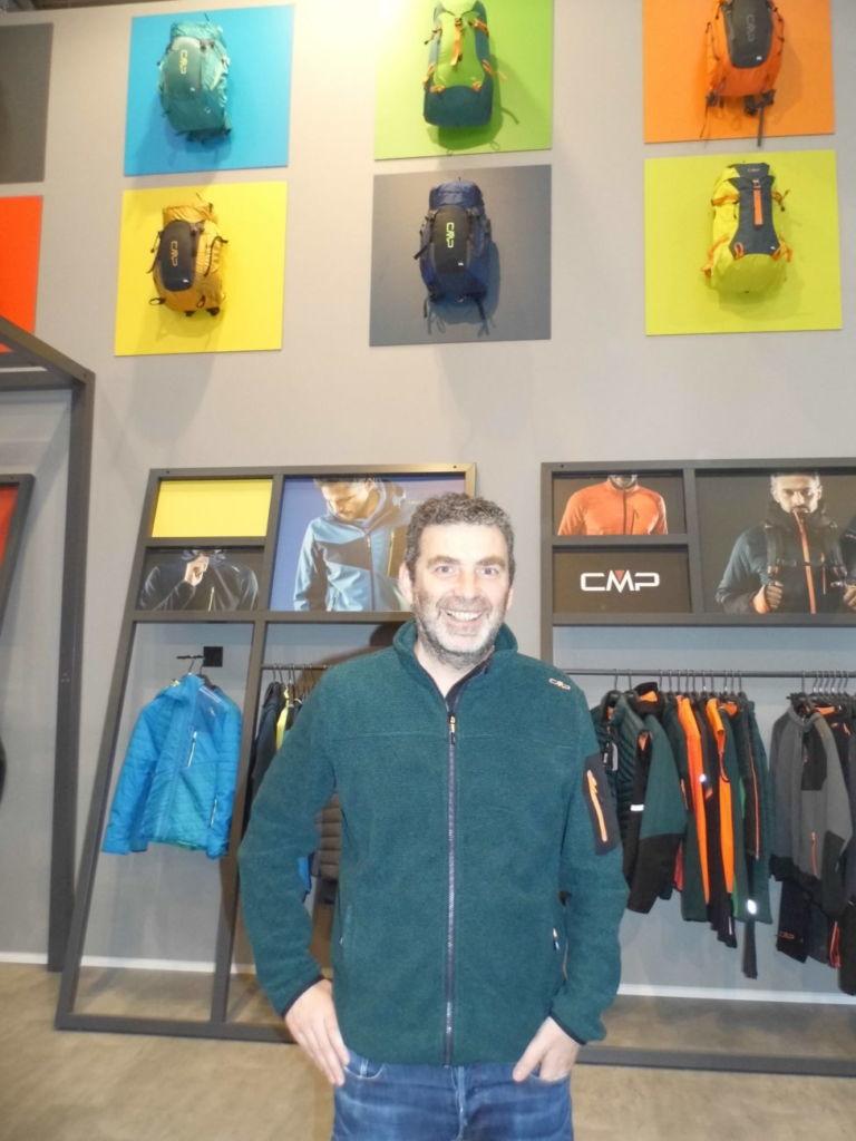 Fabio Campagnolo en el stand de CMP en Ispo Munich