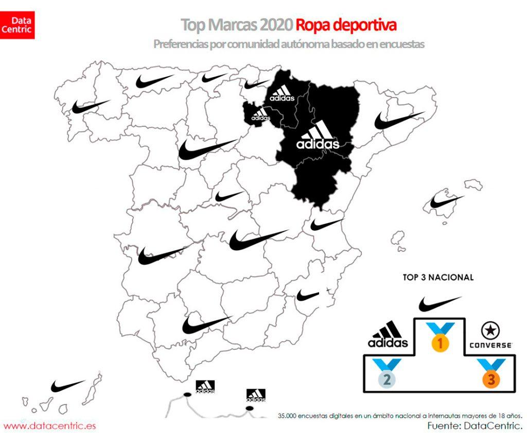 mapa de las preferencias de marcas deportivas en España según Datacentric